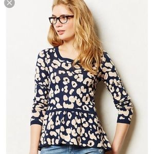 Anthropologie Moth leopard peplum sweater